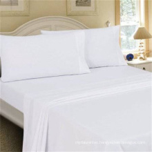Hotel White Bedding 300T 100% Percale Cotton Bed Sheet Set