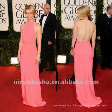 Claire Danes Slender Belt Halter Open Back Pink Celebrity Dress Prom Gown