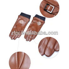 Men style fashion brown color winter sheepskin leather driver glove