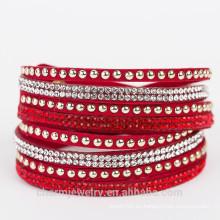 Hecho a mano de urdimbre pulsera de cuero joyas al por mayor Ajustable de moda Rhinestone encanto brazaletes mujeres 2015 BCR030