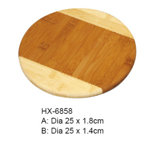 Round Bamboo 2-tone Chopping Block Pizza Board