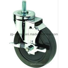 4 дюйма Двухосный черный резиновый резьбы Рицинус колеса с тормозом