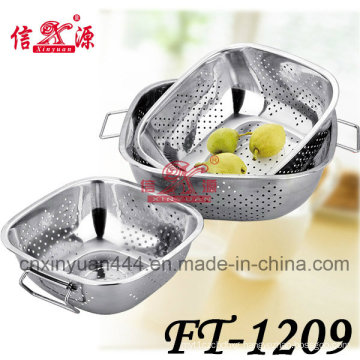 3PCS Stainless Steel Square Double Handle Multifunction Basket (FT-1209)