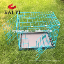 Foldable black dog cage with removable plastic tray and 2 doors