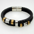 Classical Double Layer Handmade Leather Weaved Man Bracelets Fashion New Magnet Clasp Good Steel Wristband