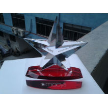 Business Gifts Hand Made Five Star Custom Crystal Trophy