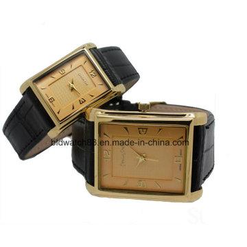 Квадратный корпус моды любовник пара часы в Золотой тон