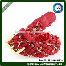 Factory Custom Women Braided Chain Belts Fashion Red Wide Genuine Leather Belts