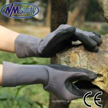 NMSAFETY China 13gauge polyster e spadex forro luvas luvas de nitrilo luva longa na cor preta