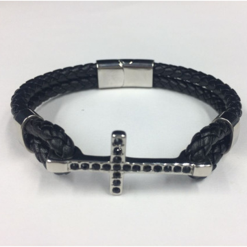 Hot Fashion Cross Edelstahl mit Lederarmband