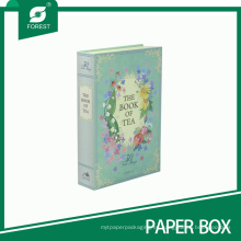 Elegante caja de papel con forma de libro para envases de té