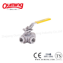 Three Way Threaded End Ball Valve with Lock