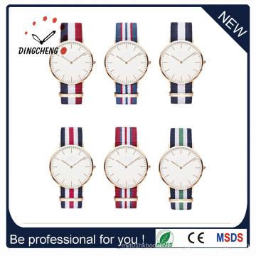 Promoción de acero inoxidable de moda señora hombres de cuarzo reloj de pulsera