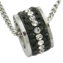 Pendentif en acier inoxydable en perle en perle en pierre noire CZ