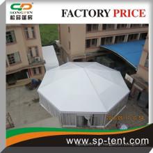Billig Großhandel decagonal Festzelt Party Veranstaltung Zelt diagonal 25m Zelt für 200 Personen mit Glaswand