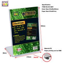Suporte plástico vertical do cartão do tamanho A4 com personalização da impressão de papel
