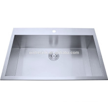 Undermount single bowl with tap hole, R0 R10 R15 Radius,18 Guage 18/8 304 Stainless Steel Handmade Kitchen Sinks