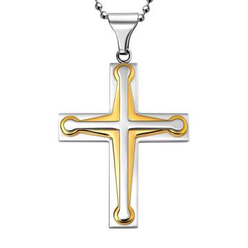 Colgante de joyería de tres cruzadas de acero de oro Hdx