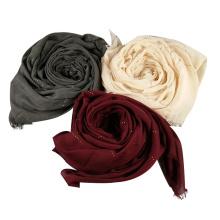 Neueste Hijab Plain Pashmina muslimischen Schal Strass Frauen Baumwolle Viskose Gilter Hijab Schal