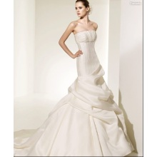Trumpet Mermaid Strapless Cathedral Train Satin Ruffled Wedding Dress