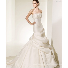 Trumpet Mermaid Strapless Cathedral Train Satin Ruffled Wedding Dress