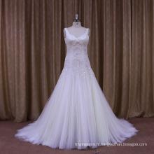 Robe de mariée sexy perlée et plissée de tailleur personnel