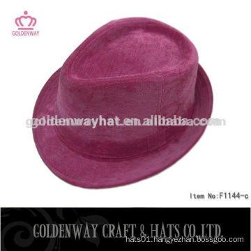 short brim pink fedora felt hat