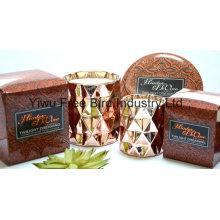Fragrance Three Wicks Bougie en étain ronde 340 g avec couvercle en métal