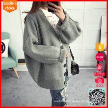 2017 Las últimas mangas largas ponen en cortocircuito el suéter gris de la cachemira del cuello de v para las mujeres