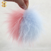 Pale Pink et Blue Mixed Color Real Raccoon Fur Ball Raccoon Fur Pom pour charme de sac
