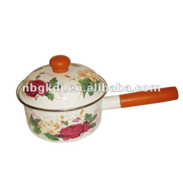 enamel cookware with wooden handle and knob