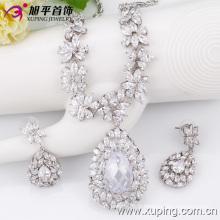 Mode de luxe Big CZ en forme de coeur rhodium cristal ensemble de bijoux pour le mariage (set-16)