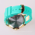gold case lady watch silicone