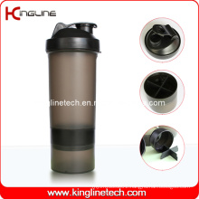 600ml plastic protein shaker bottle with 1 container on battom and filter ,BPA free (KL-7004B)