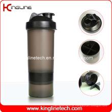 Frasco de agitador de proteína de plástico de 600 ml com 1 recipiente em battom e filtro, sem BPA (KL-7004B)