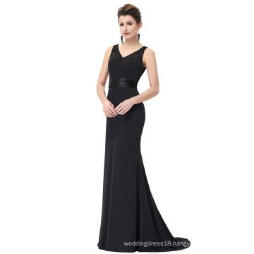 Starzz Floor-Length Sleeveless V-Neck Black Lace Formal Evening Dress ST000083-1