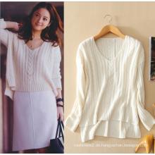 Damen Kaschmir-Pullover Tops Frauen Tops Pullover Einfarbig V-Ausschnitt