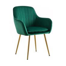 Modern Cheap Leisure Living Room Armchair Green Velvet Golden plating Dining Chair
