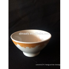 customized printing ceramic footed bowl, porcelain bowl with decal