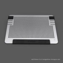Tudo em alumínio Compartimento de refrigeração para laptop Mac Notebook pad refrigeração dupla ventiladores