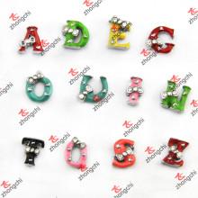 Красочная эмаль 26 букв Slider Charms для ювелирных изделий DIY (SC163)