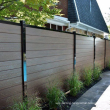Farm Garden House WPC Plastic Privacy Balcony Fence Wood Plastic Composite Slat Wall Board Metal Aluminum Alloy Frame Post Fence