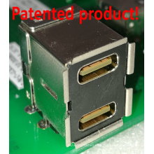USB3.0-Buchse des Doppelstock-rechtwinkligen C-Typs + ein Typ