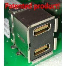 Conector fêmea USB3.0 de duplo deck em ângulo reto Tipo C + tipo
