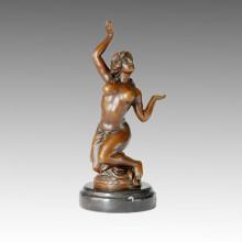 Danseuse Bronze Sculpture Nude Lady Craft Statue en laiton Milo TPE-069