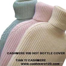 Capa quente da garrafa da costela de Cashmere