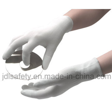 Polyester Work Glove with PU Finger Top and PVC Mini Dots (PN8108)