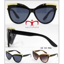 Plastic Cat′s Eye Sunglasses with Metal Decoration (WSP604567)