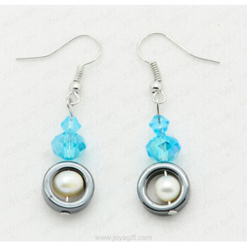 Hematite Rings beads earring with fresh water pearl