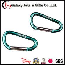 Modificado para requisitos particulares promoción verde escalada mosquetón de aluminio con insignia del Laser